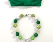 St. Patrick's Day Emerald Green Knotted Head Band and Chunky Bubblegum Bead Necklace, 3 months to 7+ years old.