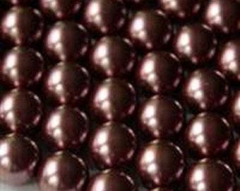"Bronze Glass Pearl 12mm Round Beads (8"" Strand)"