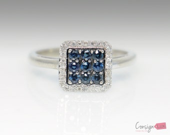 Alwand Vahan 10k White Gold Natural Sapphire Ring - Size 7