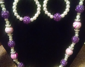 Purple and pearl necklace set