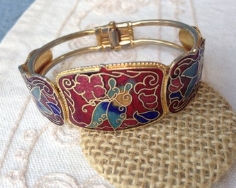 Red Cloisonne bracelet, cloisonne bracelets, red cloisonne bracelet, vintage cloisonne bracelets clamper bracelet, cloisonne jewelry