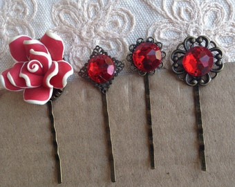 SALE: Red hair pins, decorative hair pins, red hair pins, red  hair pins, red flower hair pins, red hair pins, decorative hair pins red