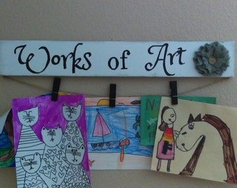 Works of Art wall childrens art display