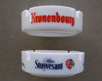 Advertising ashtray KRONENBOURG and STUYVESANT vintage / antique faience ashtray / advertising collector's item