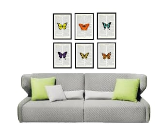 A series of 6 Upcycled Butterfly prints on Vintage book page