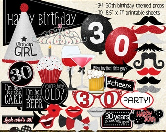 Photo Booth Props, HAPPY 30TH BIRTHDAY, printable sheets, instant download, red, black, party planning