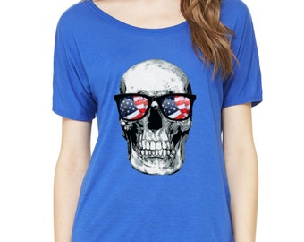 Sugar Skull USA Flag Glasses Day of Dead Slouchy Tee