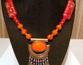 Egyptian Beaded Necklace - African Orange and Red Necklace - Large Orange and Antique Gold Charm Necklace - Statement Necklace