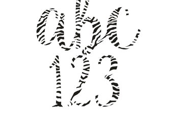 Zebra Print Alphabet- Zebra Letters- Zebra Print Alphabet-Zebra Print Clipart-Digital Download