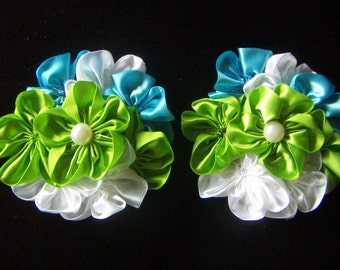 Satin Clusters Flower- Green Sky Blue White Satin Ribbon Flowers Multi-layer Flowers Pearl Center  2pcs