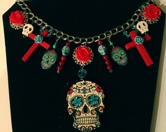 sugar skull, necklace, cross, day of the dead, dia de los muertos, charms, roses, skulls