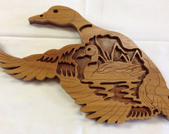 Nature's Majesty Mallard Duck Plaque - Canarywood & Walnut