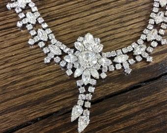 Vintage High End Bridal Wedding Crystal Clear Diamond Cut Rhinestone Necklace
