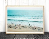 Beach Photo, Decor Print, People, Ocean Water Photography Wall Art, Coastal, Printable Beach Art Instant Download, Modern Coastal Print