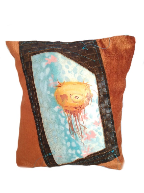 Orange and Brown Hand Painted Creature Pillow Surreal Art