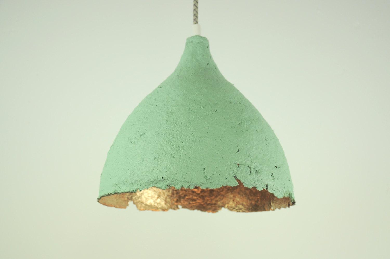 Hanging Lamp Paper Mache Drop Ocean Blue By RoughHandsTheHague