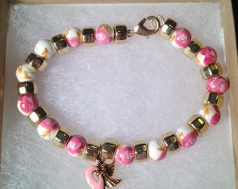 Breast Cancer Awareness Bracelet with Pink Ribbon with Angel Charm