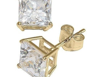 Princess Square CZ 14K Solid Yellow Gold  Stud Earrings Basket Push Back 3-8 MM