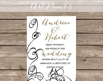 Instant Download Printable Wedding Invitation Gold Foil Printable Wedding Invitation Romantic Wedding Invitation Printable Wedding Suite