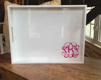 Monogrammed Lacquer Serving Tray - Lilly Pulitzer-Inspired Design