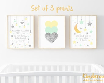 Mint, Yellow and Silver Glitter Set    Neutral Nursery   Star, Heart and Moon Prints   Set of 3   Watercolour Prints