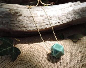 Origami Necklace, mint, gold, geometric neckace, porcelain bead, hexagon