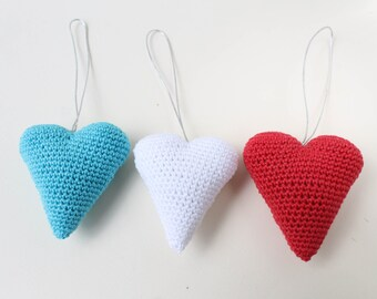 Crocheted heart, red white blue heart, amigurumi heart, miniature heart, crochet decoration, unique heart, amigurumi crochet