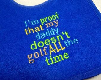 Baby Bib, Golf Baby, Waterproof Bib, Toddler Bib, 3 Snap Position, Baby Shower Gift, Funny Bib, Bright Colors, Teething Bib, Triple Layer
