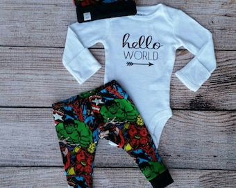 Hello world outfit / superhero baby outfit / baby boy outfit / coming home outfit / superhero / baby boy gift