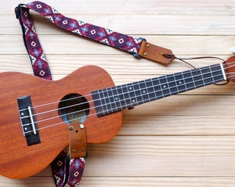 Red Retro Ukulele Strap 3 in 1