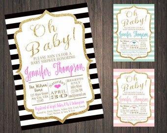 Oh Baby! Glitter Baby Shower Invitation Gold or Silver Glitter,Printable,Digital Download,Glitz, Glam,New Baby,Diaper Shower,Classic,Stripes
