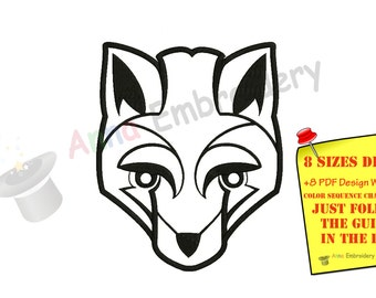 Fox Machine Embroidery Design, Fox Design, Embroidery Fox Filled stitch, machine patterns,8 sizes design, INSTANT DOWNLOAD
