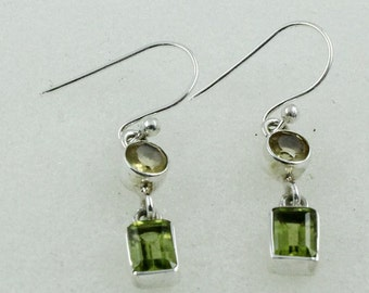 Citrine & Peridot Stone Beautiful Design 925 Sterling Silver Earrings