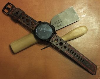 Handmade leather watch strap and buckle - Coffee Brown