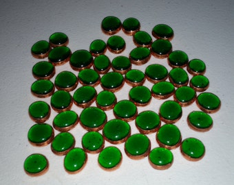 50- Dark Green Copper Foil Gems, mosaics, Glass, Stained Glass, Crafting
