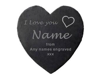 Personalised Engraved 'I Love You ...' Heart Shaped Slate Coaster