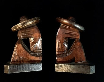 Old Vintage Mexican Hand carved Wood Sombrero Man Bookends