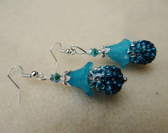 Blue Flower Shamballa Dangle Earrings - ERU180