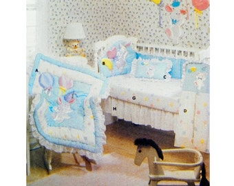 1992 Butterick 6549 Baby Room Items: Crib Quilt, Head Bumper, Pillow, Diaper Stacker, Wall Hanging, Uncut, Factory Folded Sewing Pattern