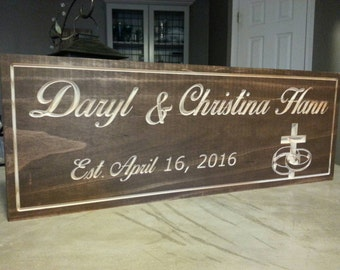 Carved wood name sign, family name sign, carved name sign, wood name sign, anniversary gift, newlywed gift, Established sign