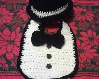 Tuxedo Set- Hat and Bib