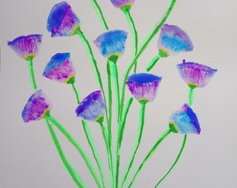 "Floral Watercolor painting PRINT Floral Art blue and purple flowers Wall Art , 13"" Original"