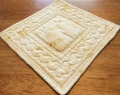 Quilted Candle Mat, Off White Table Topper, Ivory Table Mat, Summer, Spring, Floral Candle Mat, Pastel Table Decor, Candle Mat, Centerpiece