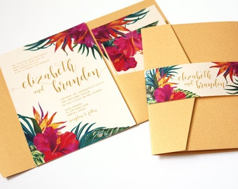 Tropical Wedding Invitation, Tropical Flowers, Destination Wedding Invitation, Beach Wedding Invitation, Hawaii Wedding, Hibiscus, -SAMPLE