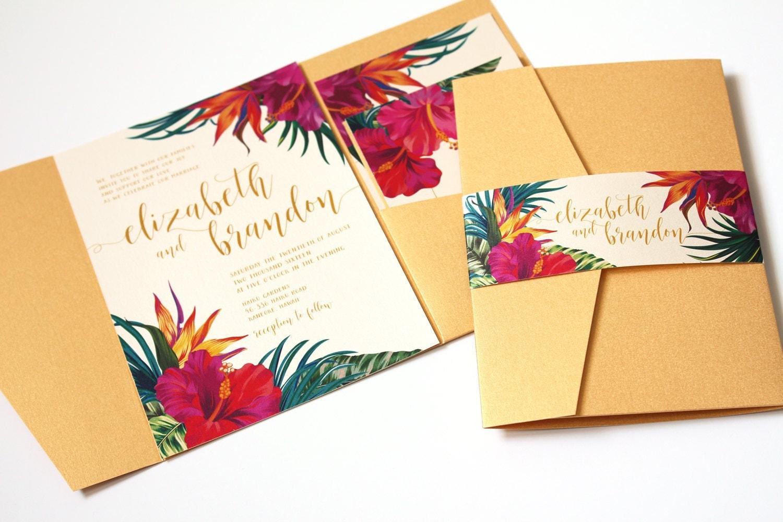 Tropical wedding invitation tropical flowers destination for Tropical wedding invitations