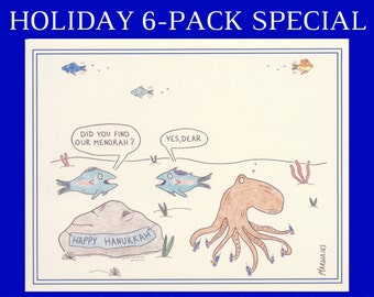 Hanukkah Card Set, Hanukkah Cards, Jewish Cards, Jewish Holiday, Funny Hanukkah Cards, Jewish Card Sets, Set of 6 Holiday Cards, Menorah