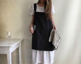 Linen Pinafore Apron, Dark Pinafore Apron Woman, Square-Cross Apron, no-ties apron, Japanese apron, linen smock, Apron dress, mothers day