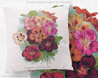 VINTAGE FLOWER Clipart Commercial Use Clipart Floral Digital Clipart Victorian Flower Seed Pack Fabric Transfer Iron on Transfer Jpg/Png