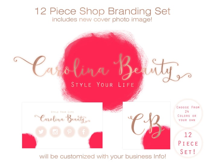 ETSY SHOP BRANDING Set - With New Cover Photo Premade Etsy Shop Banner Logo Business Card Minimalist Rose Gold & Watercolor Brush Strokes