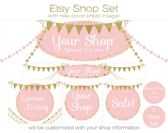 ETSY SHOP SET - Choose Your Font - Cover Photo, Banner Icon Gold Glitter Confetti, Bunting, & Beads Etsy Business Branding Set Customized